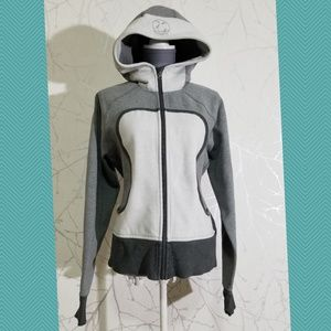 Lululemon Gray & White Colorblock Scuba Hoodie
